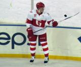 Andrej Nestrasil bounces a puck on his stick during pre-game warmups before the Grand Rapids Griffins play at Comerica Park.