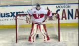 Tom McCollum gets set in his crease to start the second period in a Grand Rapids Griffins game at Comerica Park.