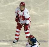 Brennan Evans gets set at the blue line during a Grand Rapids Griffins game at Comerica Park.