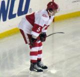 Adam Almquist crouches along the boards before a faceoff during a Grand Rapids Griffins game at Comerica Park.