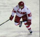 Triston Grant chases the puck during a Grand Rapids Griffins game at Comerica Park.