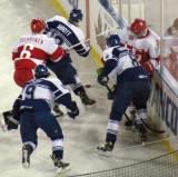 Teemu Pulkkinen and Riley Sheahan battle for the puck with Toronto Marlies Spencer Abbott, Greg McKegg and Petter Granberg during a Grand Rapids Griffins game at Comerica Park.
