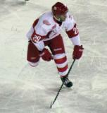 Landon Ferraro skates up the ice during a Grand Rapids Griffins game at Comerica Park.