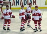 Landon Ferraro, Adam Almquist, Luke Glendening and Mitch Callahan stand around during a stop in play in a Grand Rapids Griffins game at Comerica Park.