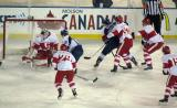 Tom McCollum and the Grand Rapids Griffins fend off a chance by the Toronto Marlies in a game at Comerica Park.