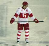 Nathan Paetsch stands on the ice during a stop in play in a Grand Rapids Griffins game at Comerica Park.