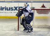 Drew MacIntyre of the Toronto Marlies gets set in his crease during a game against the Grand Rapids Griffins at Comerica Park.