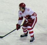Mitch Callahan gets set for a faceoff during a Grand Rapids Griffins game at Comerica Park.