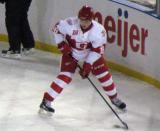 Cory Emmerton carries the puck during a Grand Rapids Griffins game at Comerica Park.