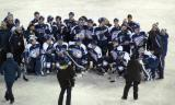The Toronto Marlies pose for a team picture after a game against the Grand Rapids Griffins at Comerica Park.