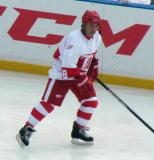 Dennis Polonich skates during pre-game warmups before the first game of the Alumni Showdown.