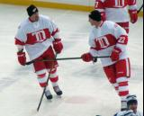 Martin Lapointe and Mike Knuble skate during pre-game warmups before the first game of the Alumni Showdown.