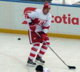 Jiri Fischer skates along the boards during pre-game warmups before the first game of the Alumni Showdown.