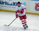Brent Fedyk skates during pre-game warmups before the first game of the Alumni Showdown.