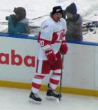 Martin Lapointe skates along the boards during pre-game warmups before the first game of the Alumni Showdown.