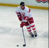 Paul Ysebaert skates during pre-game warmups before the first game of the Alumni Showdown.