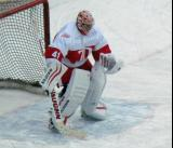 Eddie Mio gets set in his crease during pre-game warmups before the first game of the Alumni Showdown.