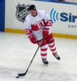 Kevin Miller skates during pre-game warmups before the first game of the Alumni Showdown.