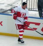 Paul Ysebaert skates along the boards during pre-game warmups before the first game of the Alumni Showdown.