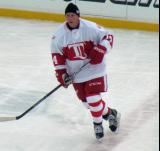 Brent Fedyk skates along the blue line during pre-game warmups before the first game of the Alumni Showdown.