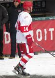 Brent Fedyk is introduced before the first game of the Alumni Showdown.