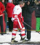Petr Klima is introduced before the first game of the Alumni Showdown.