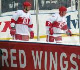 Jiri Fischer and Red Berenson skate prior to the start of the first game of the Alumni Showdown.