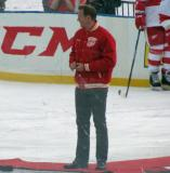 Nicklas Lidstrom appears at center ice for a ceremonial puck-drop at the start of the first game of the Alumni Showdown.