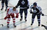 Petr Klima lines up on wing opposite Todd Warriner for a faceoff during the first game of the Alumni Showdown.