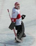 Kevin Hodson gets set in his crease during the second period of the first game of the Alumni Showdown.
