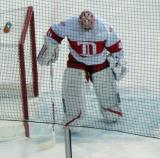 Eddie Mio gets set in the crease during the second period of the first game of the Alumni Showdown.