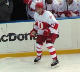 Jimmy Carson skates along the boards during the second period of the first game of the Alumni Showdown.