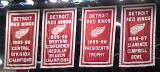 Detroit's banners from 1995-96 and 1996-97.