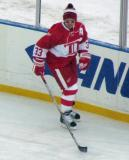 Kris Draper skates along the boards during pre-game warmups before the second game of the Alumni Showdown.