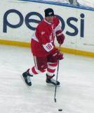 Kirk Maltby skates with a puck during pre-game warmups before the second game of the Alumni Showdown.