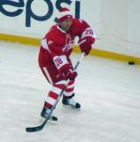 Brian Rafalski skates along the boards during pre-game warmups before the second game of the Alumni Showdown.