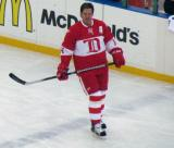 Brendan Shanahan skates across the blue line during pre-game warmups before the second game of the Alumni Showdown.