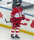 Joe Kocur skates along the boards during pre-game warmups before the second game of the Alumni Showdown.