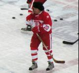 Mickey Redmond skates in the neutral zone during pre-game warmups before the second game of the Alumni Showdown.
