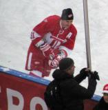 Sergei Fedorov skates along the near boards during pre-game warmups before the second game of the Alumni Showdown.