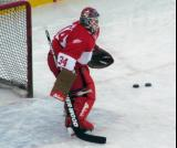 Manny Legace stands in his crease during pre-game warmups before the second game of the Alumni Showdown.