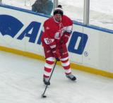 Joe Kocur stickhandles along the boards during pre-game warmups before the second game of the Alumni Showdown.