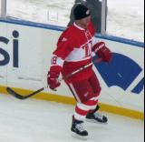 Kirk Maltby skates along the boards during pre-game warmups before the second game of the Alumni Showdown.