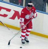 Steve Yzerman skates along the boards during pre-game warmups before the second game of the Alumni Showdown.