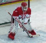 Chris Osgood gets set in the crease during pre-game warmups before the second game of the Alumni Showdown.