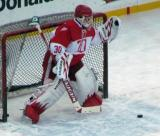 Chris Osgood catches a shot during pre-game warmups before the second game of the Alumni Showdown.