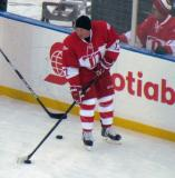 Doug Brown carries a puck along the boards during pre-game warmups before the second game of the Alumni Showdown.