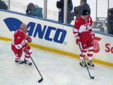 Mark Howe and Sergei Fedorov skate along the boards during pre-game warmups before the second game of the Alumni Showdown.