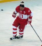 Steve Yzerman skates during pre-game warmups before the second game of the Alumni Showdown.