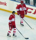 Brendan Shanahan and Viacheslav Fetisov skate near the boards during pre-game warmups before the second game of the Alumni Showdown.